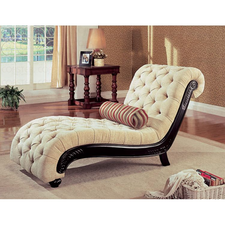 Wondrous Beige Button Tufted Microfiber Chaise Lounge Recliner Creativecarmelina Interior Chair Design Creativecarmelinacom