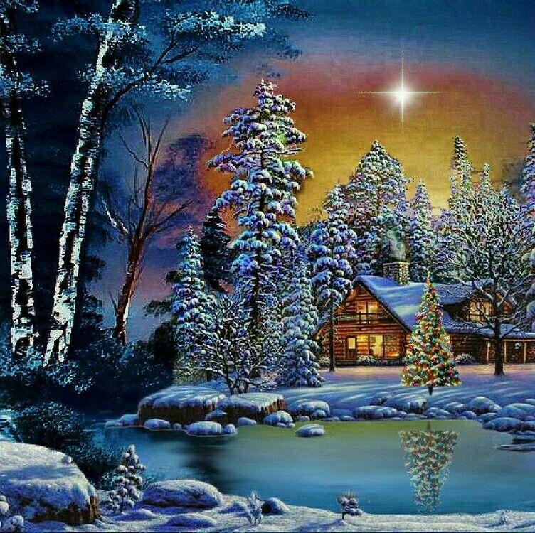 Днем, открытка поздравительная с зимним пейзажем