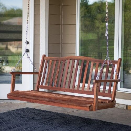 Belham Living Pearson Curved Back Porch Swing Red Porch Swing