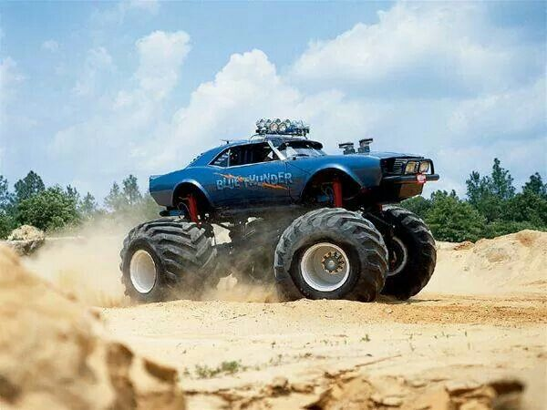 Monster Lifted Muscle Car Monster Trucks Pinterest Monsters