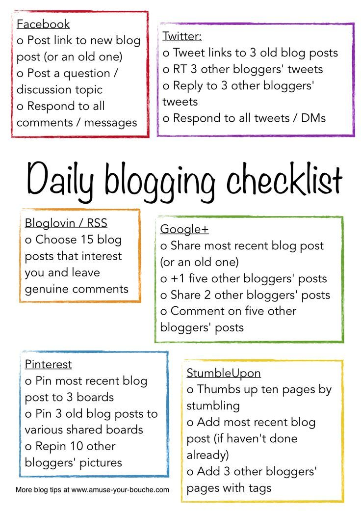 Daily Blogging Checklist  Blogging Tips    Blogging