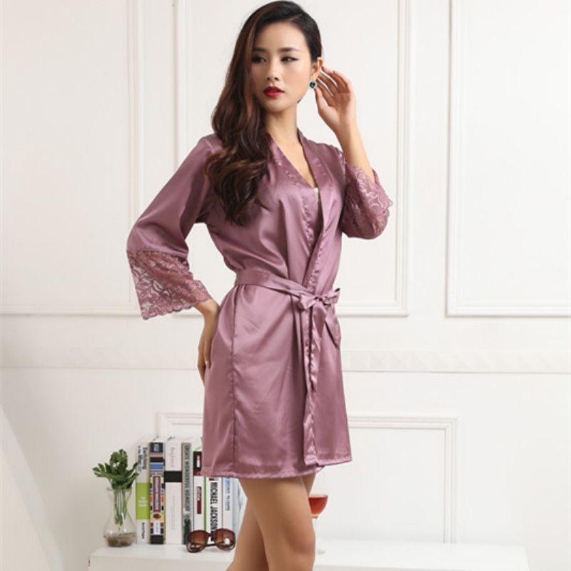 Hot Women Sexy Silk Satin Robes Kimono Nightwear Sleepwear Pajama Bath Robe  Nightgown With Belt 0ace15b6c