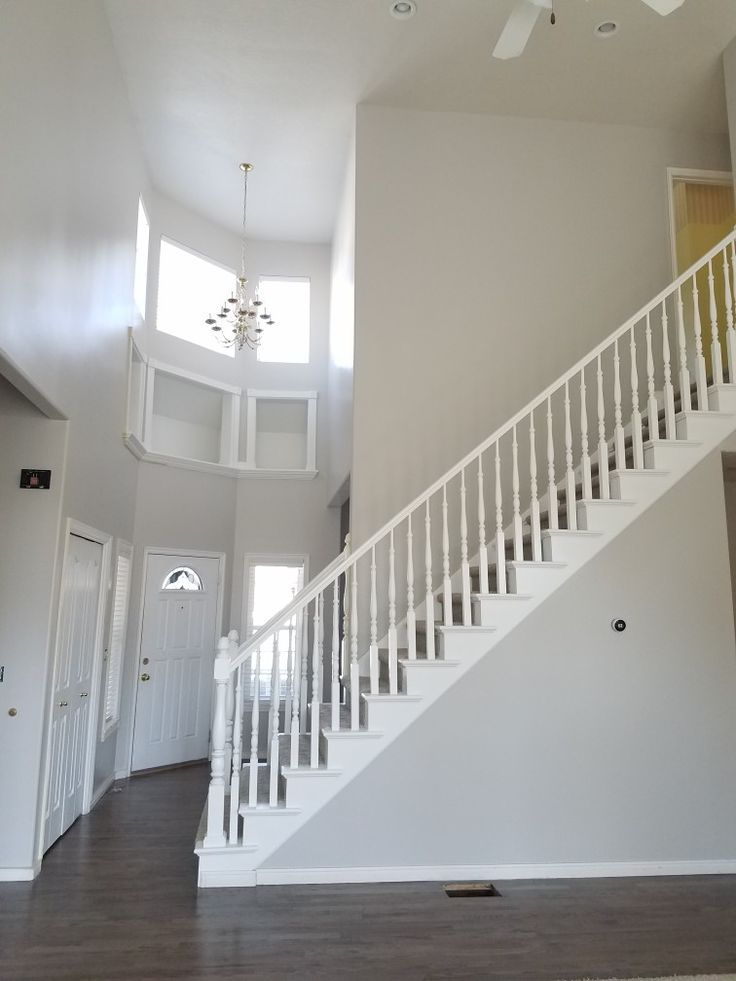 Sherwin Williams Repose gray on the entry and stairs in my house! images