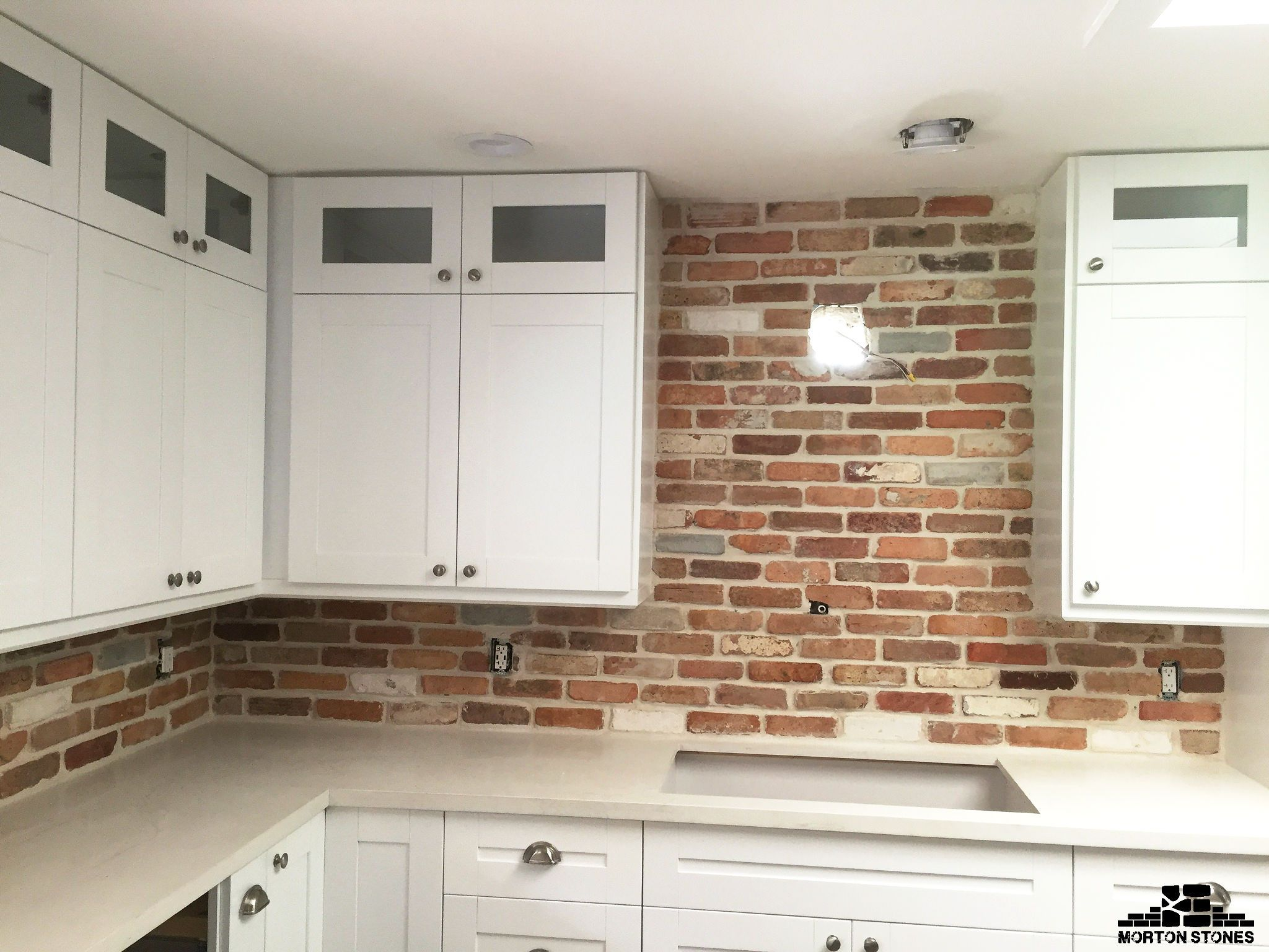 A Red Brick Veneer Backsplash Project Mortonstones Brick Tiles