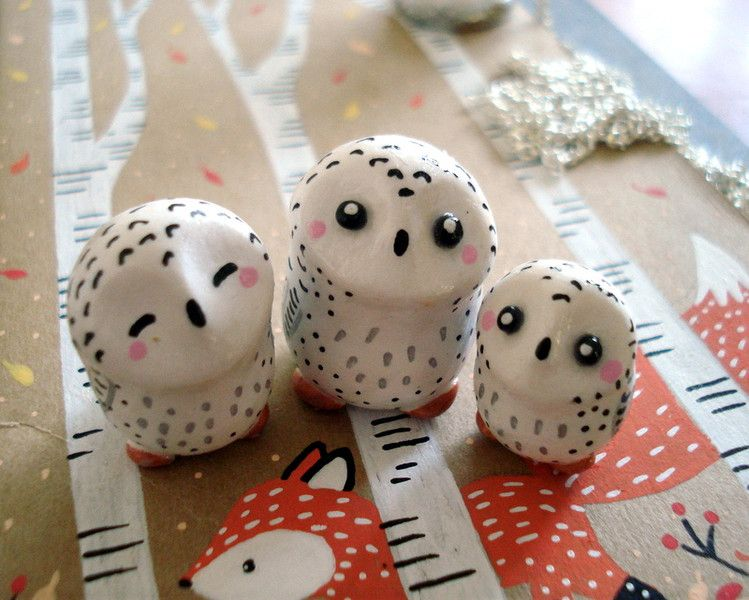 Trio de totems Petites Chouettes oMamaWolf de oMamaWolf sur DaWanda.com … | Fimo noel ...