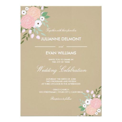 Elegant Floral Wedding Invitation - neutral beige
