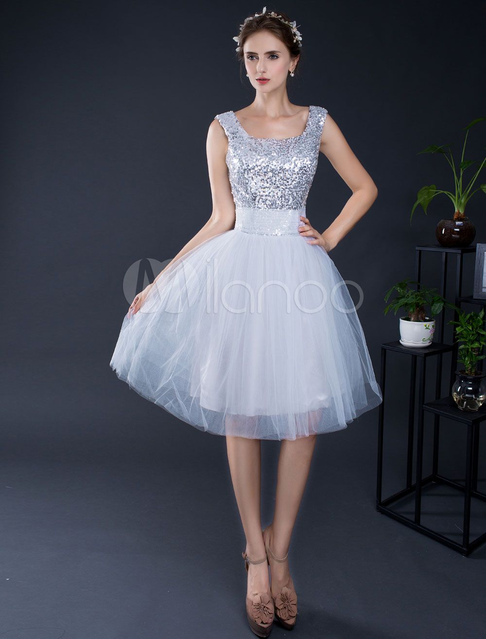 70a5ec3cb6 Short Prom Dress Sequin Tulle Homecoming Dress Lace-up Knee-length  Graduation Dress
