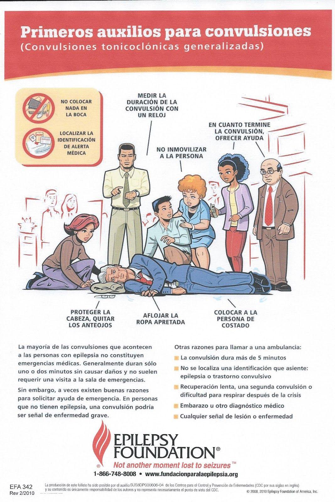 Infografía sobre primeros auxilios para convulsiones de la