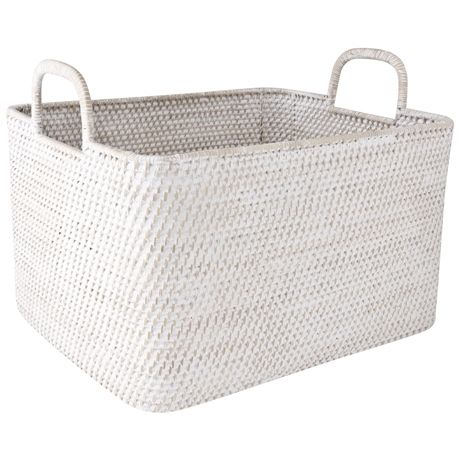 Laundry Bags With Handles Simple Nito Rectangle Basket With Handle Large  Bin  Pinterest  Freedom Design Ideas