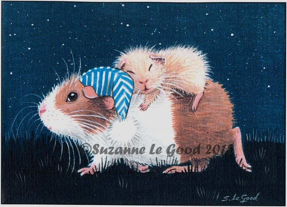 LTD.  EDITION GUINEA PIG & BABY PRINT FROM ORIGINAL PAINTING BY SUZANNE LE GOOD