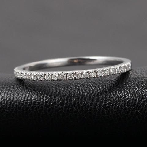French V Pave Diamond Wedding Band Half Eternity Anniversary Ring 14K White Gold  H/SI - Lord of Gem Rings - 2