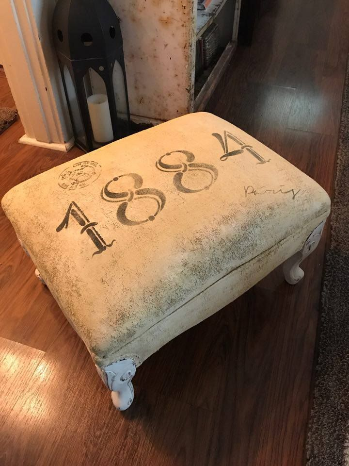Artisan Enhancements Number Stencil Set and Paris Address stencil were used on this adorable stool painted by Deanna of The Doll House in Camas, Washington.