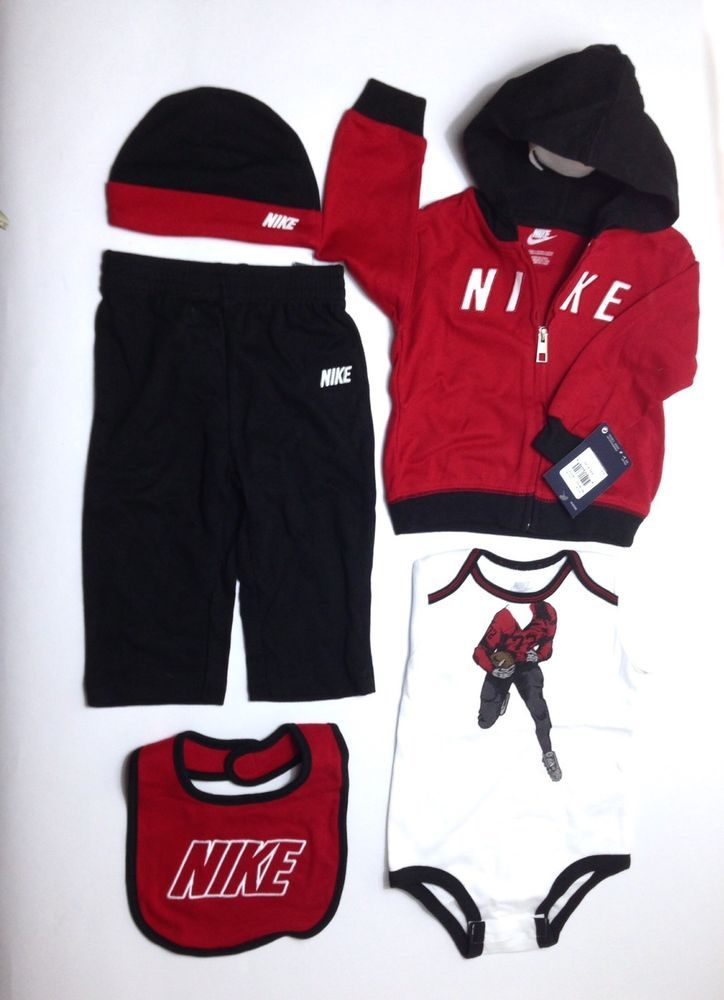Air NIKE Baby BOYS 5-Pc Outfit Set: Romper, Hoodie, Pants, Bib & Hat
