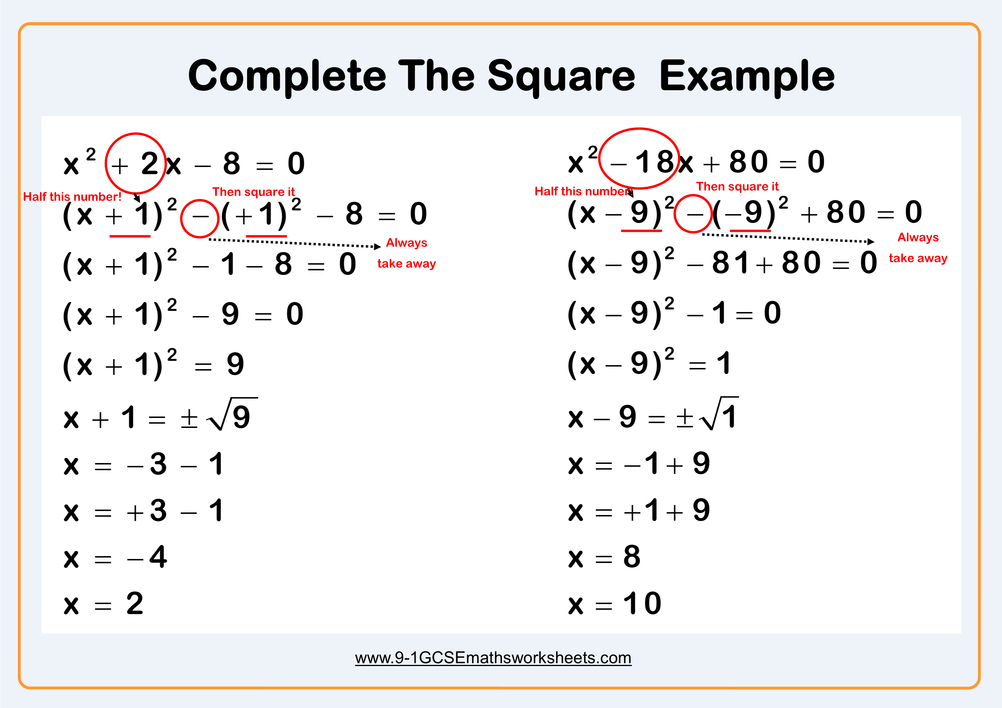 Completing the square example | Matematyka, Szkoła ...