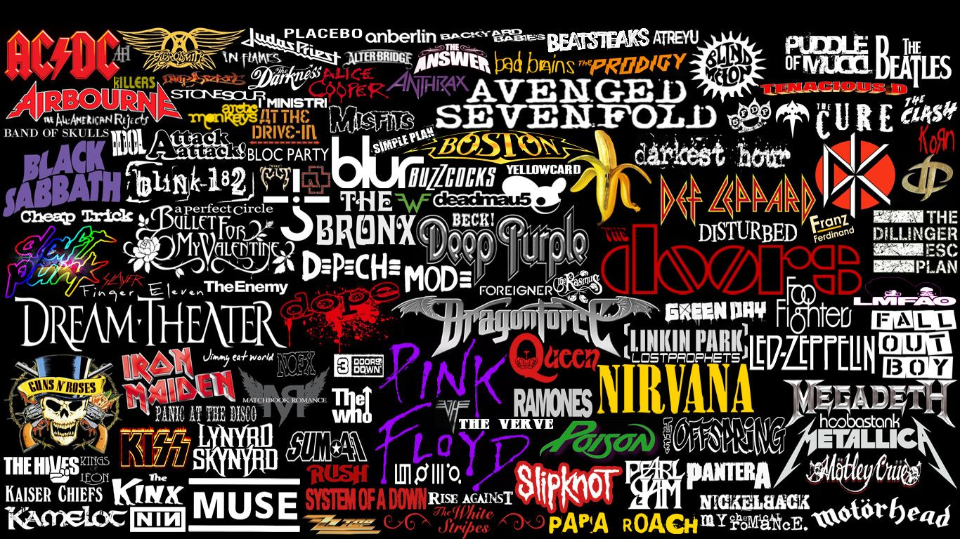 Logo Collage Rock Band Wallpaper Hd Wallpapera High Resolution