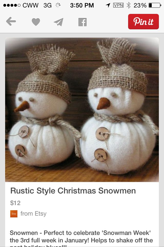 Diy christmas snowmen made out of two christmas for Snowman made out of burlap