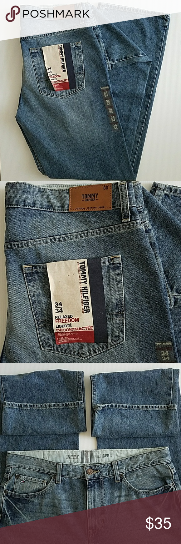 Tommy Hilfiger Relaxed Freedom Jeans 34W 34L New Tommy