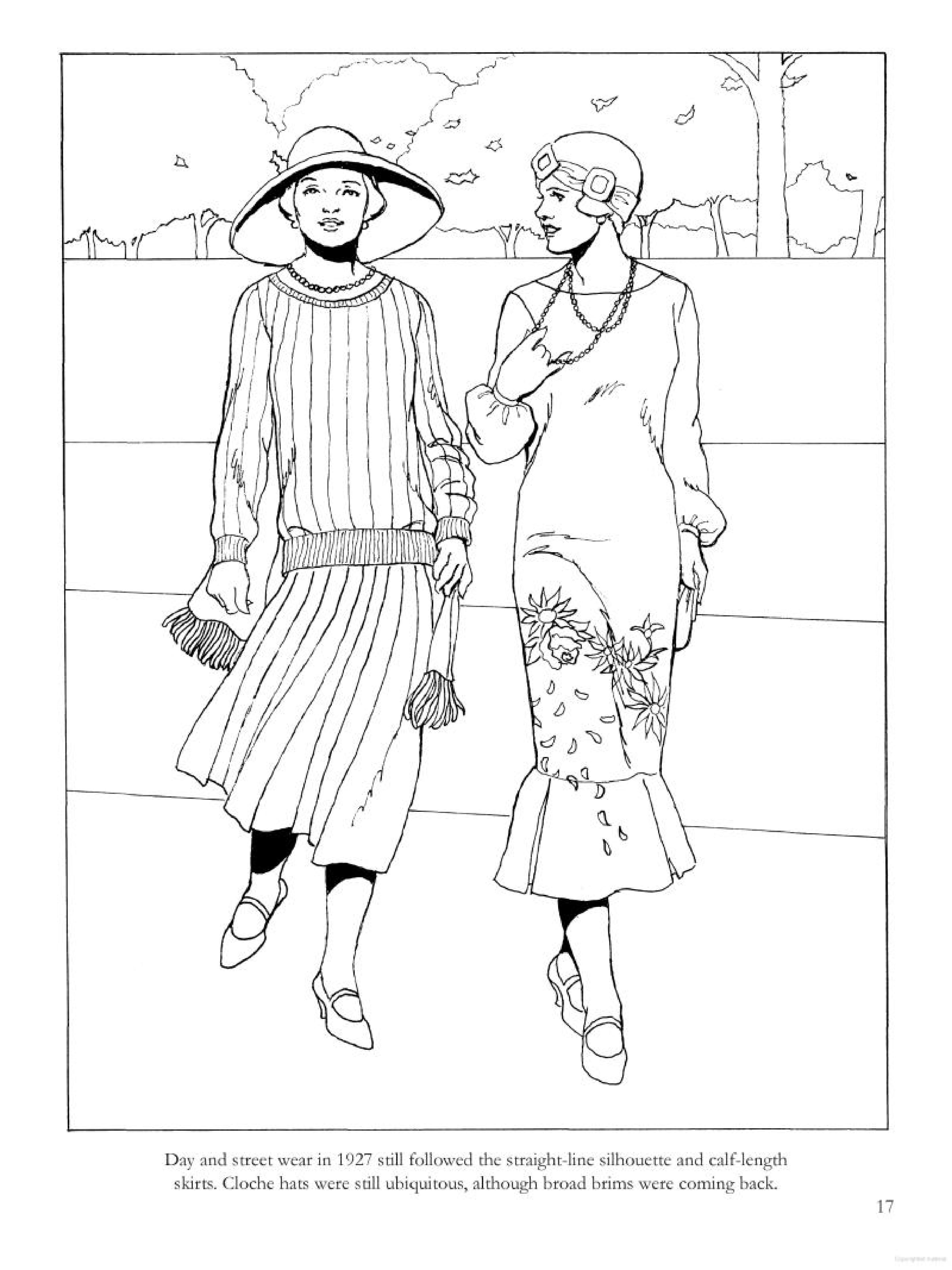 1920s coloring pages for kids | Day and Street Wear, ca. 1927 From Fashions of the Roaring ...