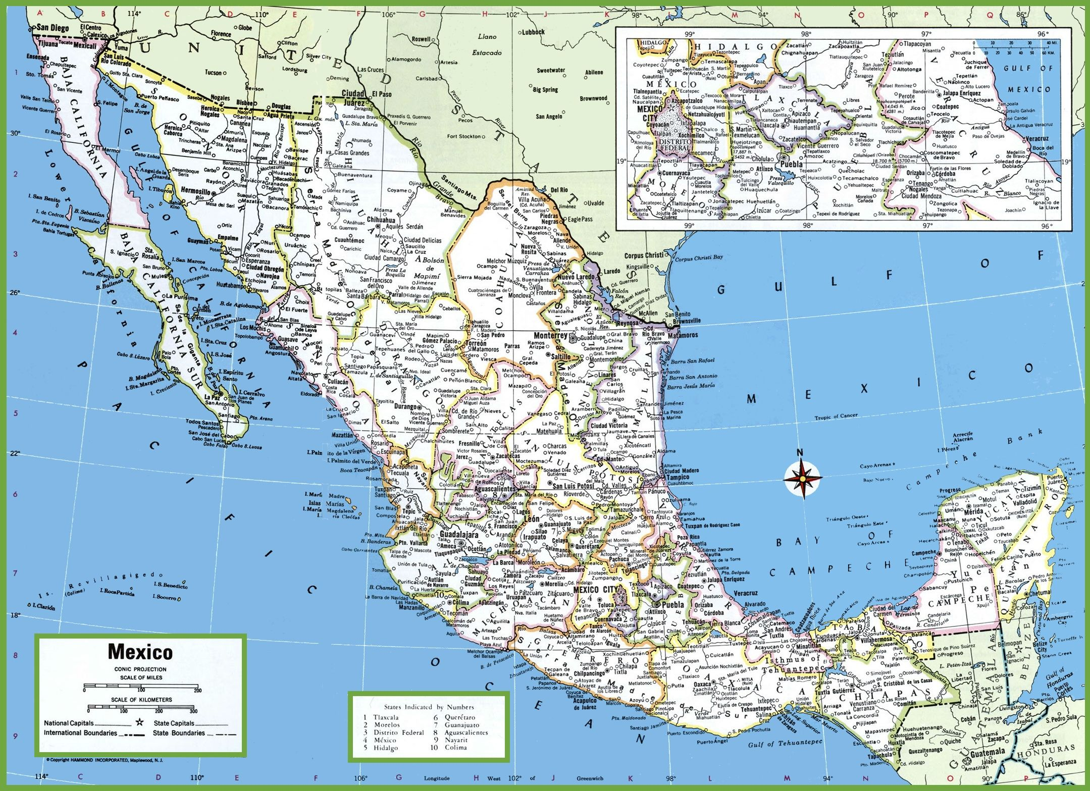 Obregon Mexico Map.Large Detailed Map Of Mexico With Cities And Towns Wanderlust In
