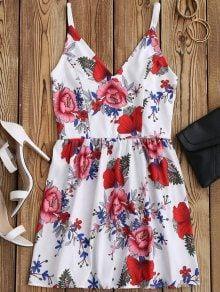 Floral Print Mini Cami Sundress - White M