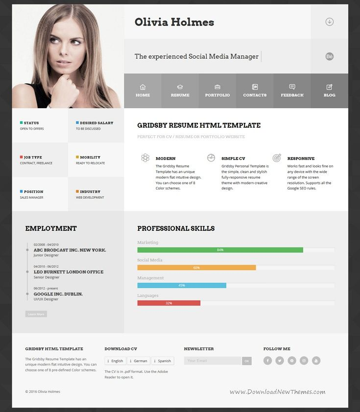 Resume Html Template Gridsby Multipurpose Resume Html  Curriculum Vitae Template And