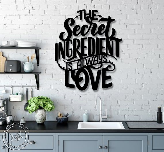 Metal sing 'The Secret ingredient is always Love' is a modern and stylish wall art piece. It is perfect for decorating your home, or like an original gift! *****FREE EXPRESS Shipping in USA & Europe! (DHL max. 3-5 days)***** *****Attention to buyers from Canada and Europe. The price does not include customs duties and import taxes. Buyers are responsible for any customs and import taxes that may apply*****• Height 52 cm x Horizontal width 43 cm or 20