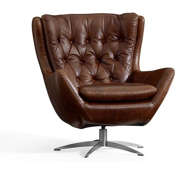 a swivel chair get more inviting than this plush and roomy our wells leather armchair is wrapped in topgrain leather with deep tufting on the