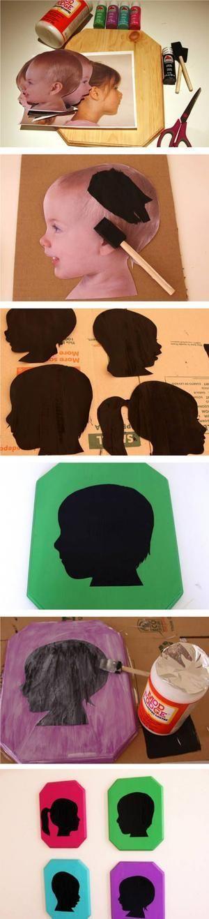 kreatives muttertagsgeschenk mit kinderfotos silhouetten. Black Bedroom Furniture Sets. Home Design Ideas