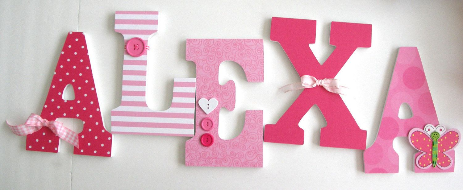 Custom wooden letters pink butterfly theme nursery for Baby room decoration letters
