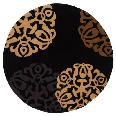 Home Decorators Collection Chadwick Black Gold 5 Ft Round Rug