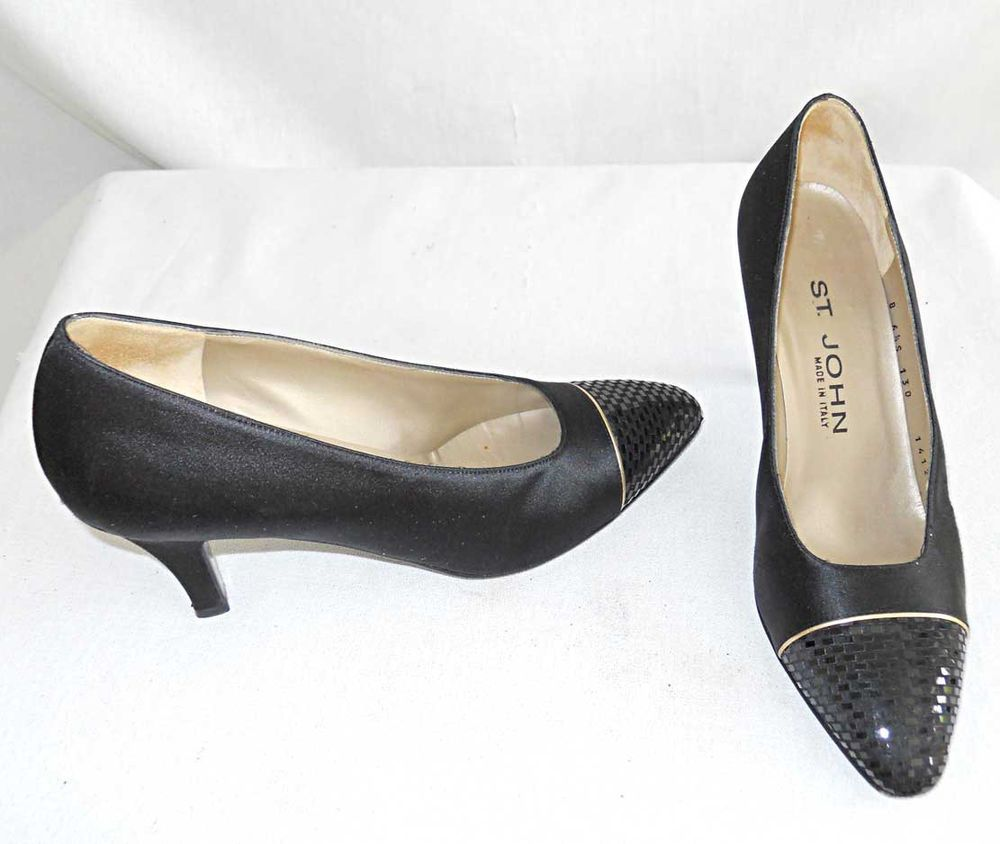 discount great deals St. John Satin Cap-Toe Pumps buy cheap low shipping discount online quality free shipping for sale mvVdCWDW3