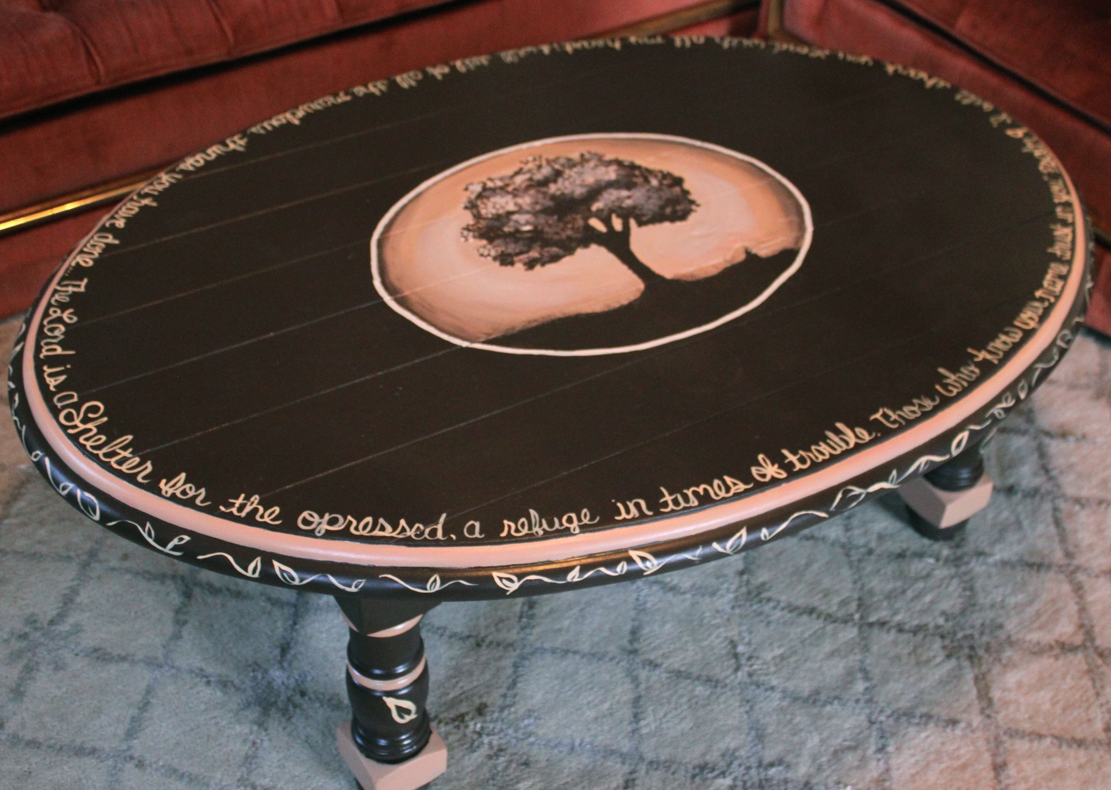 Awesome Oval Wooden Hand Painted Coffee Table Ideas With Brown Base Painted  And Four Leg As