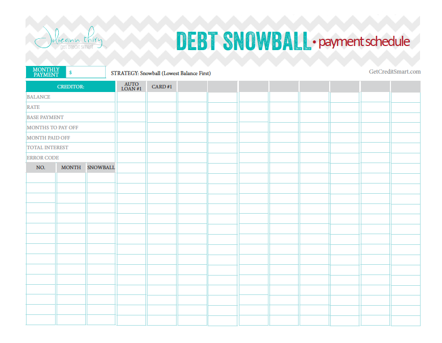 Debt Snowball payment schedule... beautiful and perfect worksheet ...