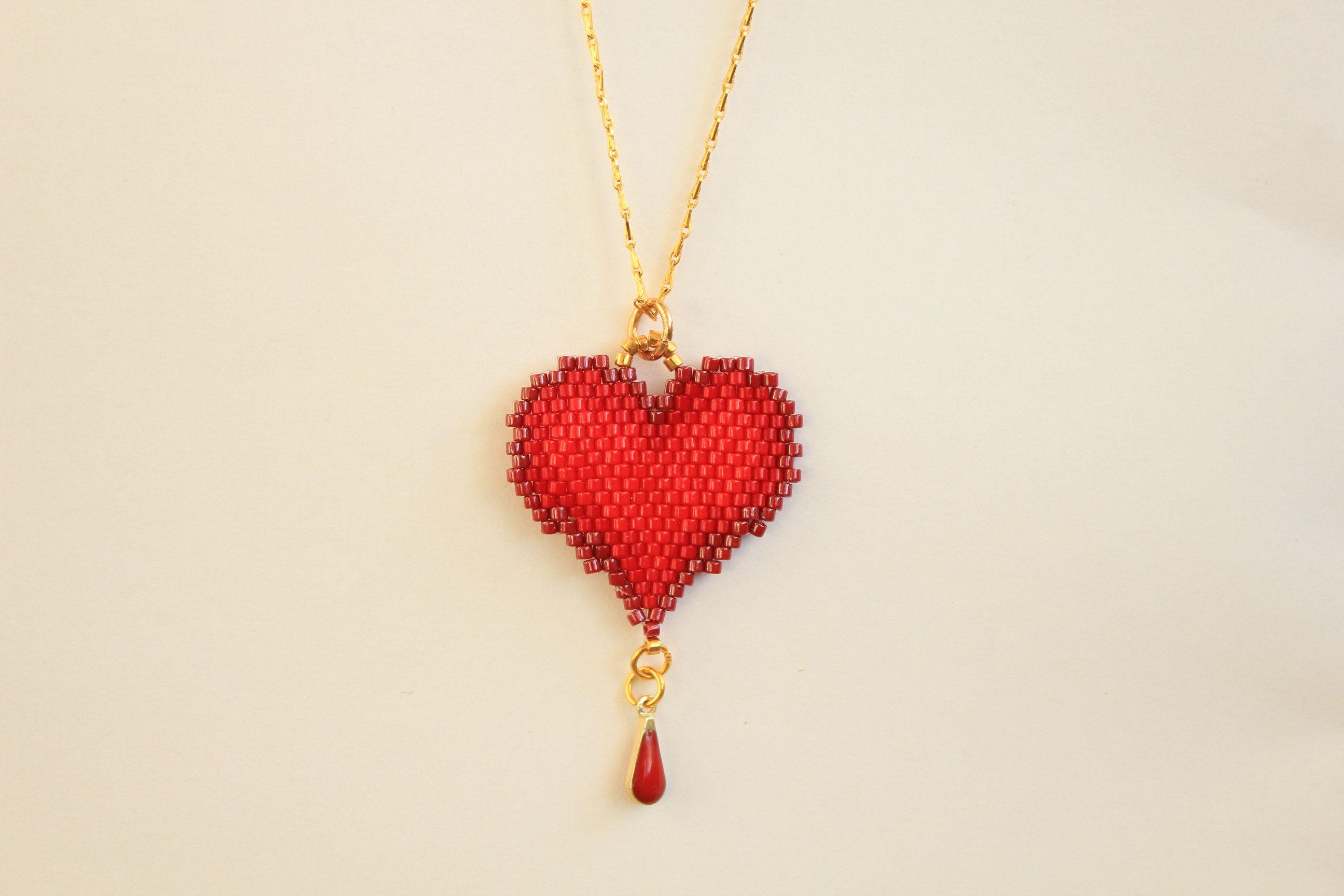 center pin red tone necklace enameled silver heart with pendant