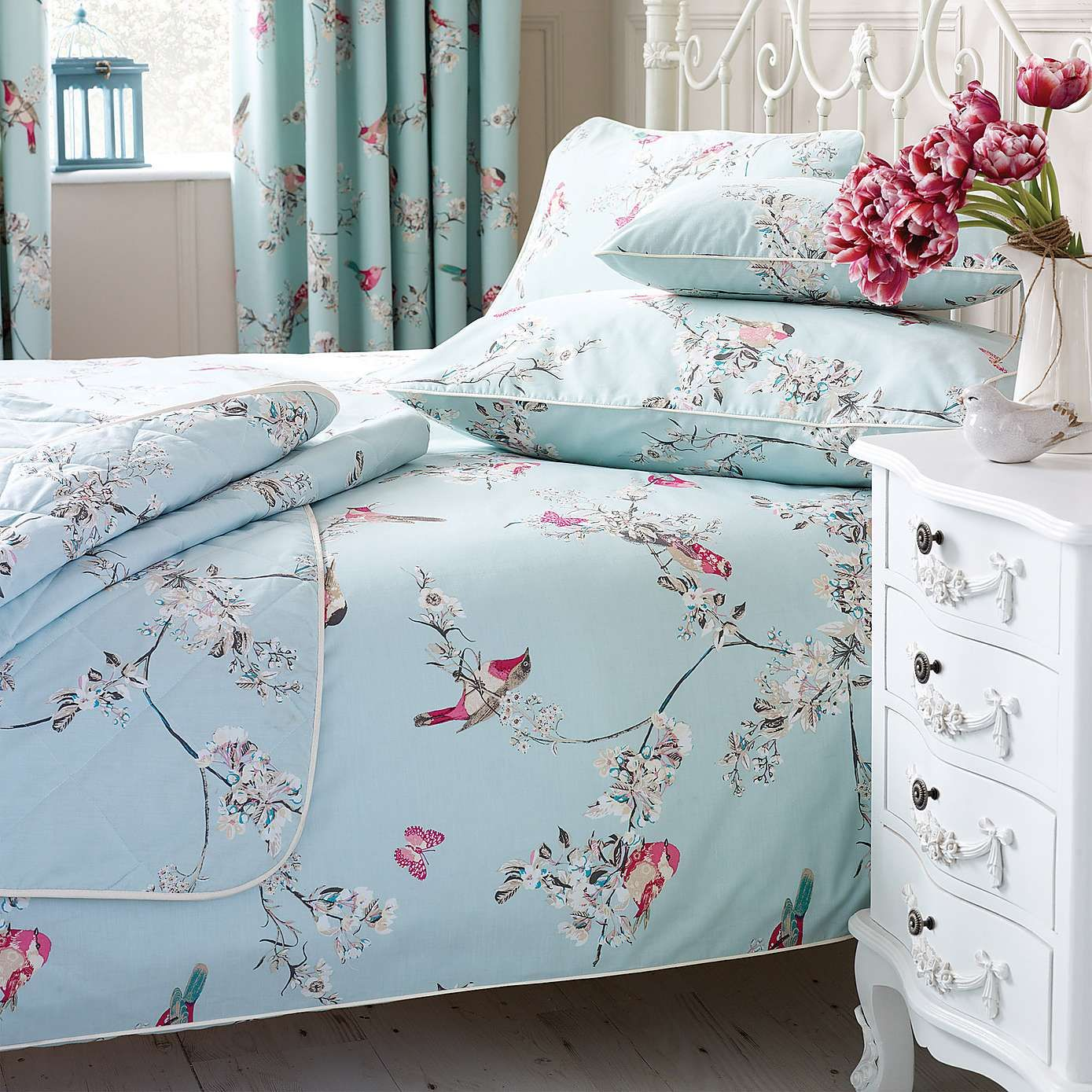 Duck Egg Beautiful Birds Duvet Cover Set Dunelm