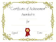 Gold border wtih red ribbon volunteer recognition pinterest printable certificate of achievement certificate templates certificate templates yadclub Gallery