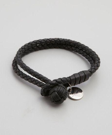 c608bd44275cf Bottega Veneta Dark Blue Intrecciato Leather Doubled Bracelet in Blue for  Men | Lyst