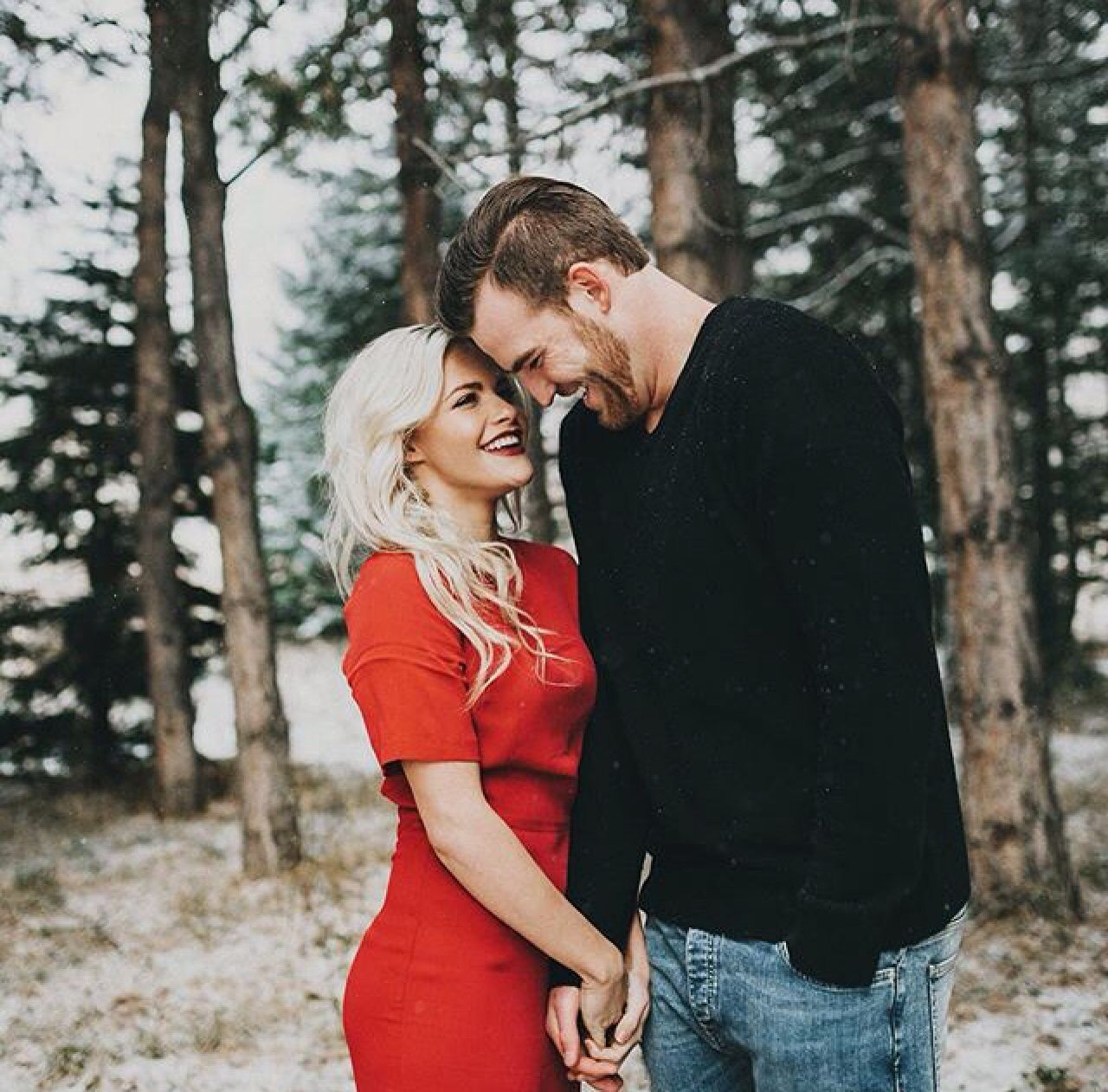 Whitney Carson Wedding Hair Style: Engagement Photos, Christmas Couple