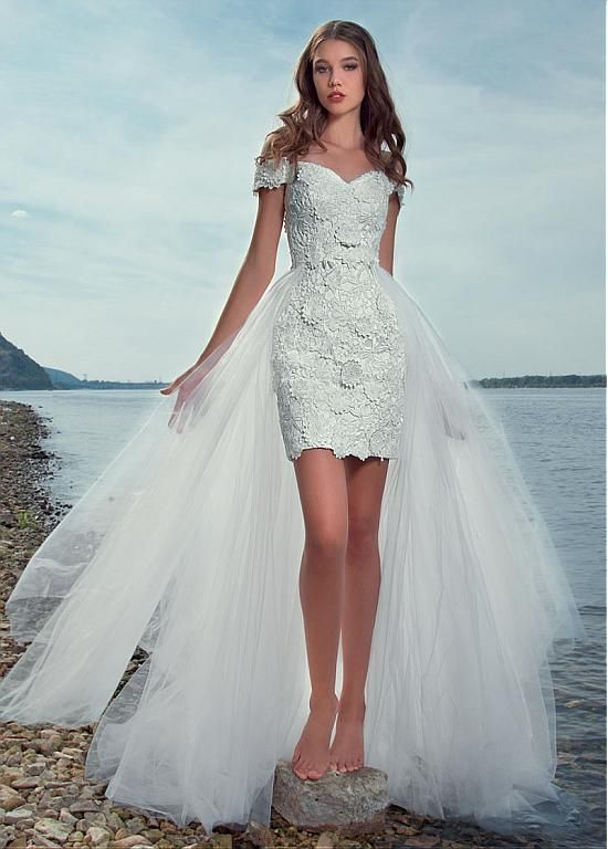 Pretty Lace & Tulle Off-the-shoulder Neckline 2 In 1 Wedding Dress With 3D Lace Appliques