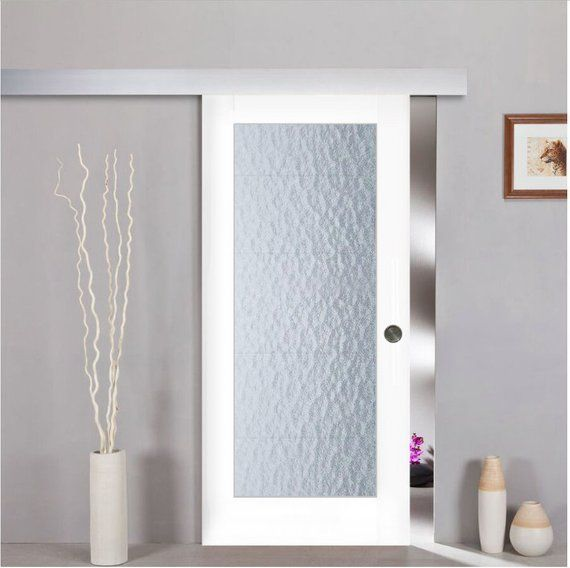 Sliding Barn Door White Wood And Aquatex Glass With Hardware