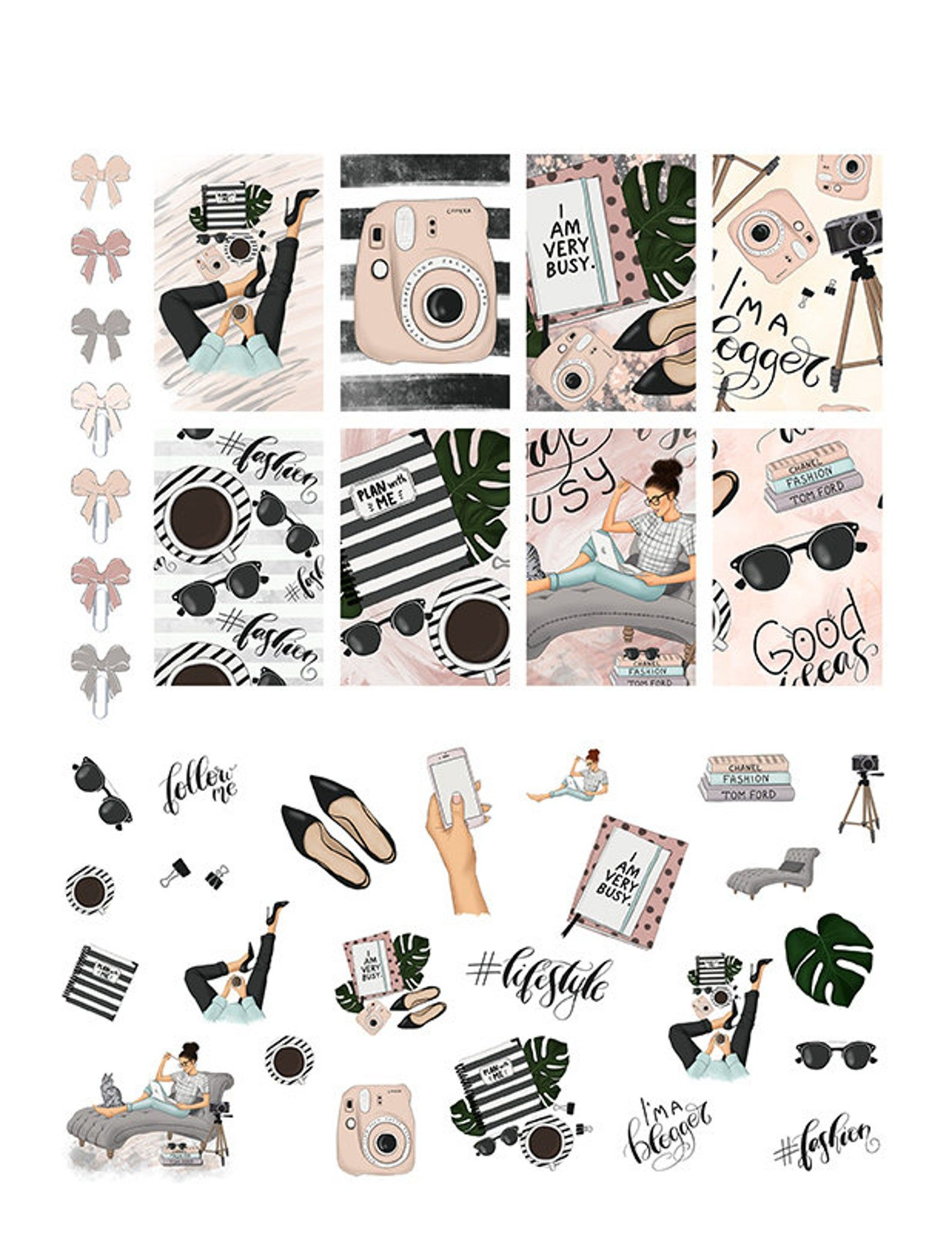 Printable Mambi Happy Planner Classic NEW Stickers Weekly I am a blogger notebook Cat Art Kit Based Design PNG Jpg PDF