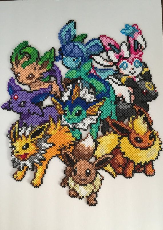 Eeveelution Perler Bead Design by RatedEforEveryone on Etsy