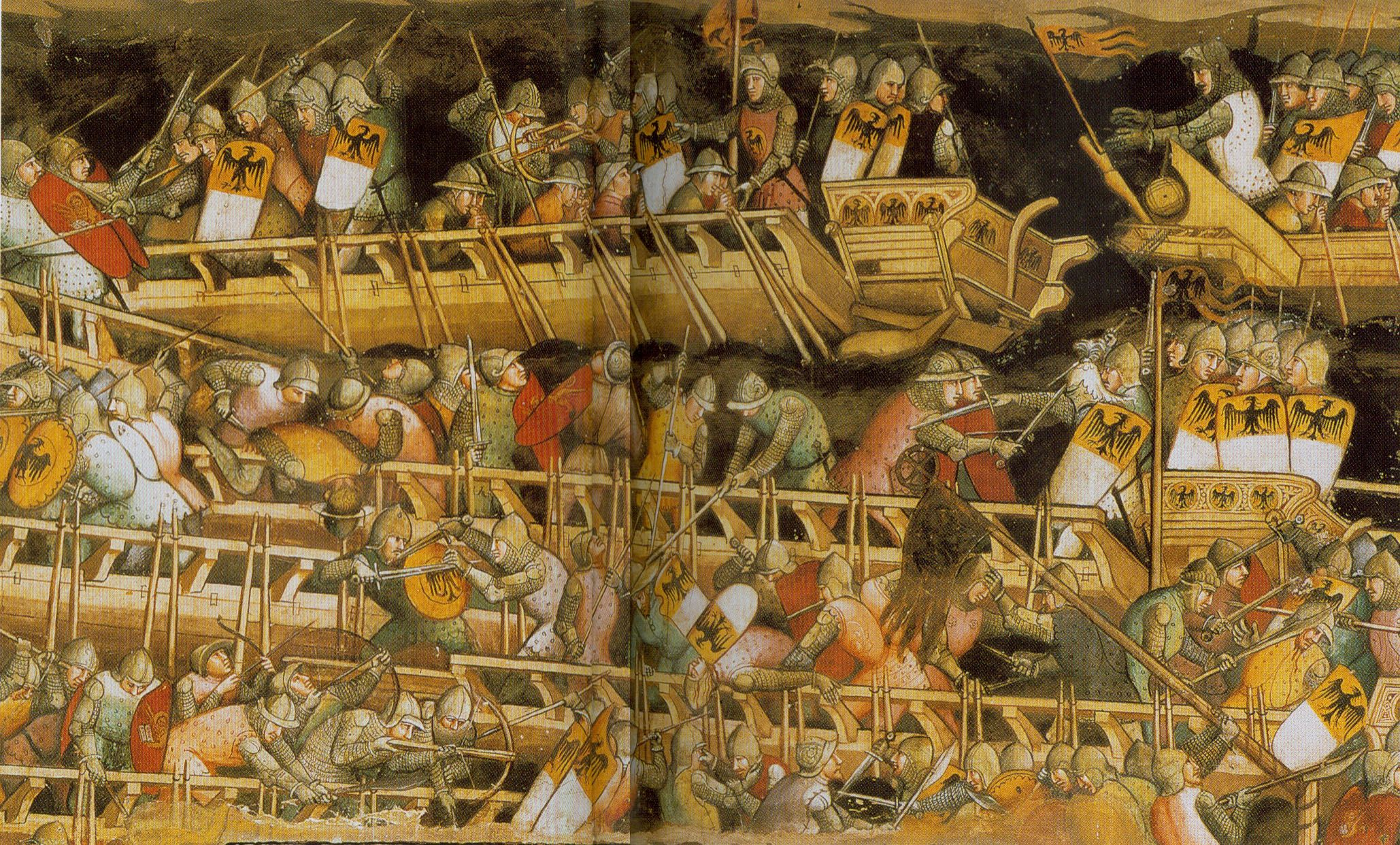 A huge fresco at the Palazzo Publicco in Sienna, of a naval battle ...