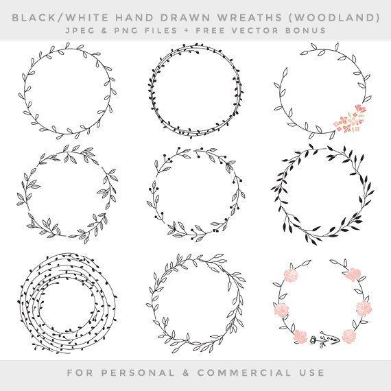 Photo of Wreath clip art – hand drawn wreath clip art digital hand drawn floral wedding clipart pink shabby romantic branches leaf forest chic fauna