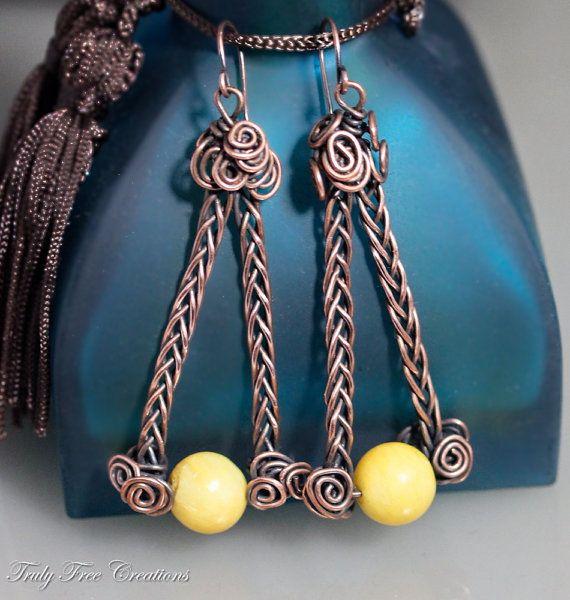 Wire Wrapped Jewelry Handmade, Wire earrings - Copper earrings ...
