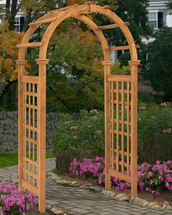 Garden Arbor Kit Cedar Wood Pergola Trellis Walkway Path Arch Entrance Wedding Newenglandarbors