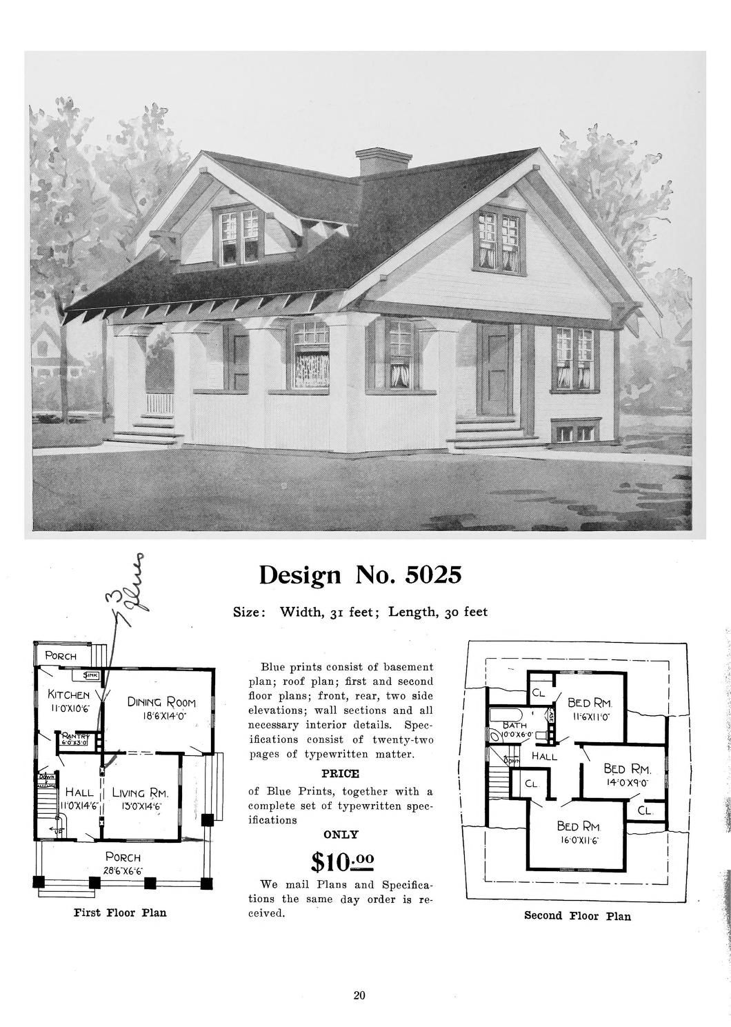 Radford S Artistic Bungalows House Catalog 1908 Design 5025 Craftsman Style Homes Vintage House Plans Edwardian House