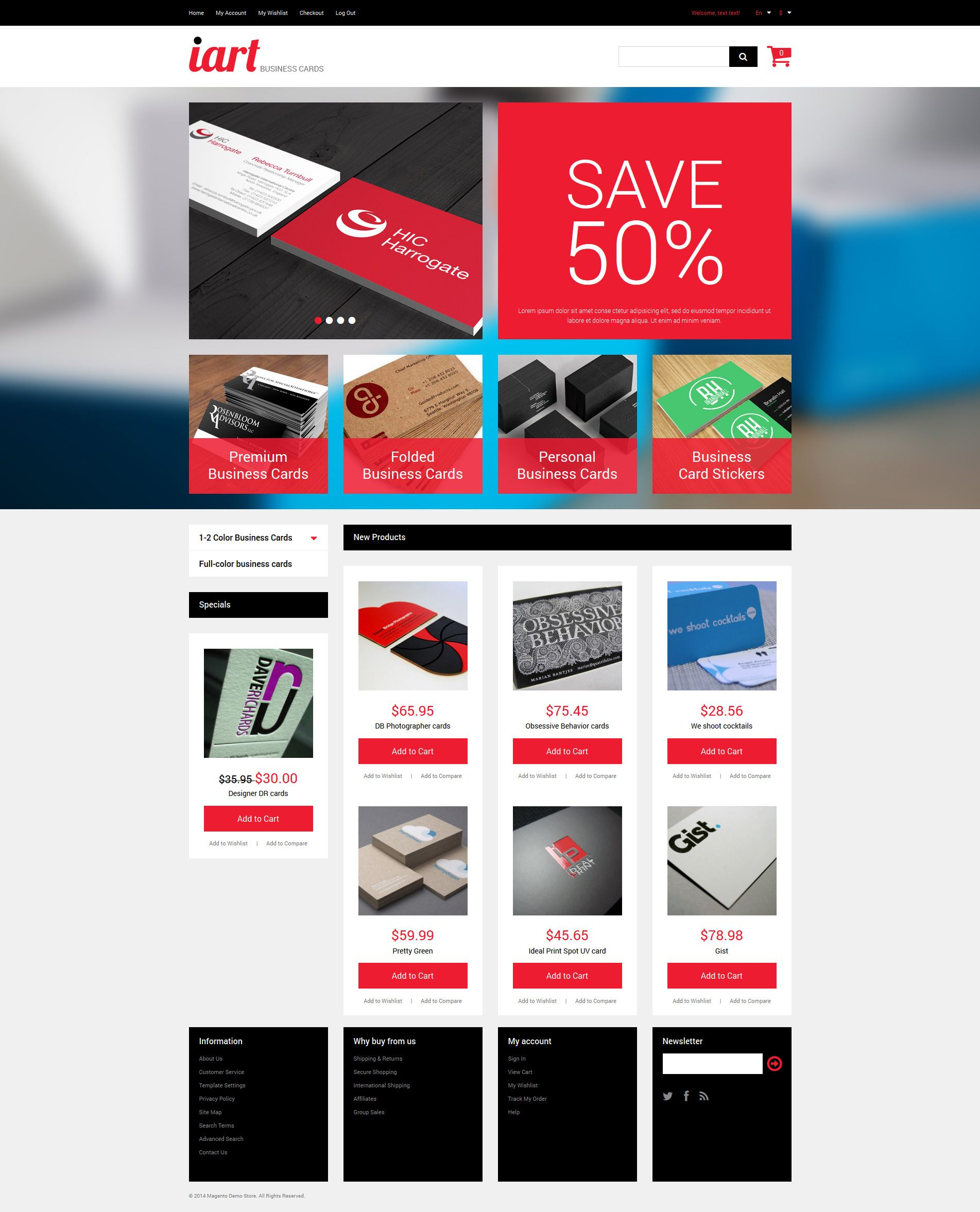 Business Cards Store Magento Theme 49520