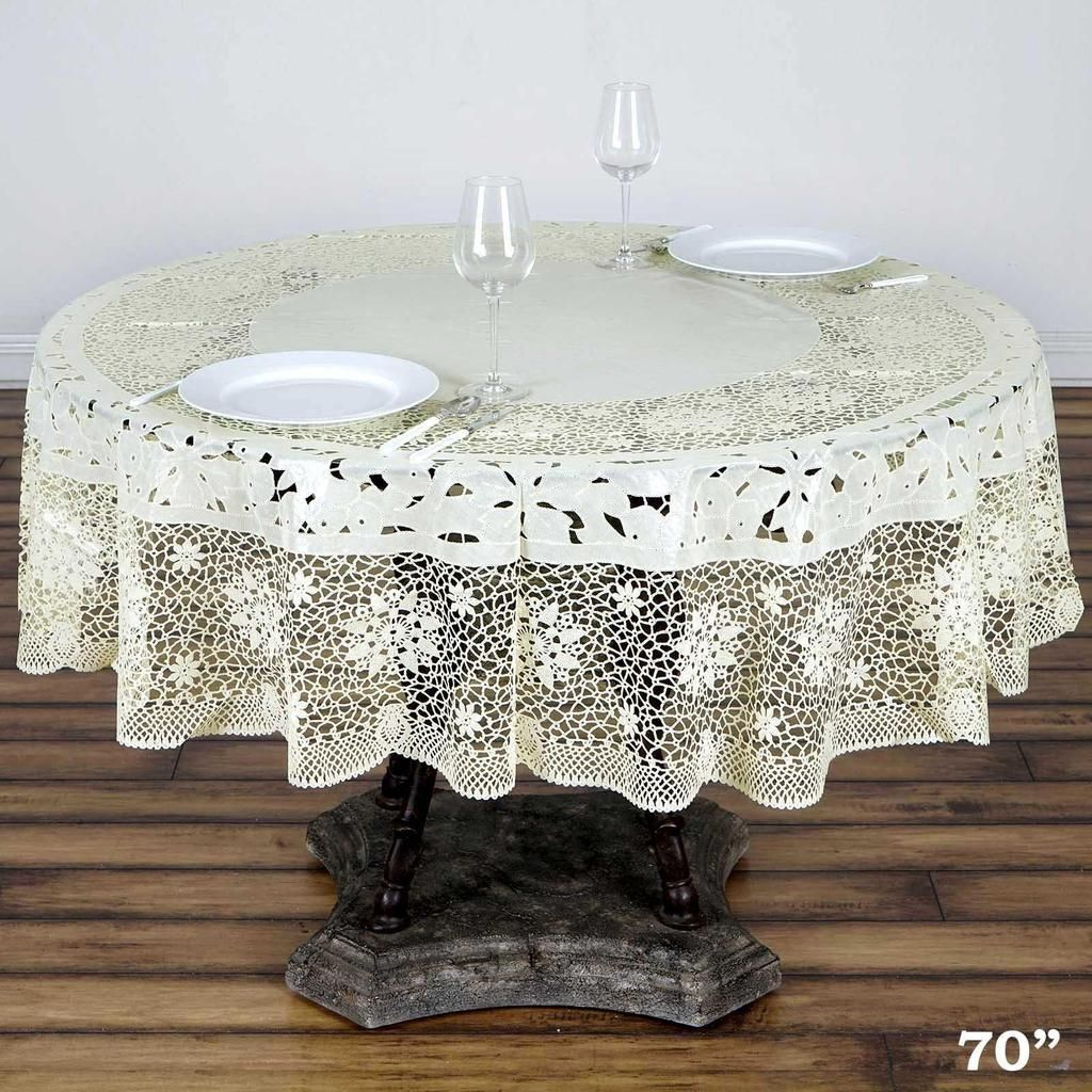 70 Ivory Disposable Waterproof Lace Vinyl Round Tablecloth Protector Vinyl Tablecloth Table Cloth Waterproof Tablecloth