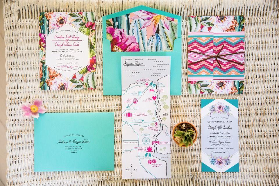 paper style wedding invitations%0A Southwestern Secret Garden Meets Niagara Falls Wedding
